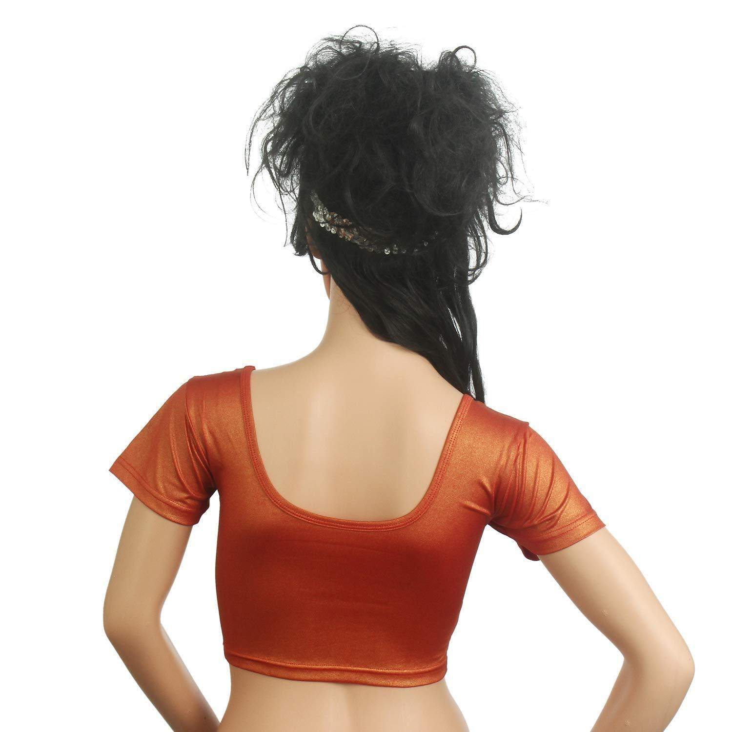 Readymade Stretchable Designer Party Wear Saree Blouse Orange - Bagaholics Gift
