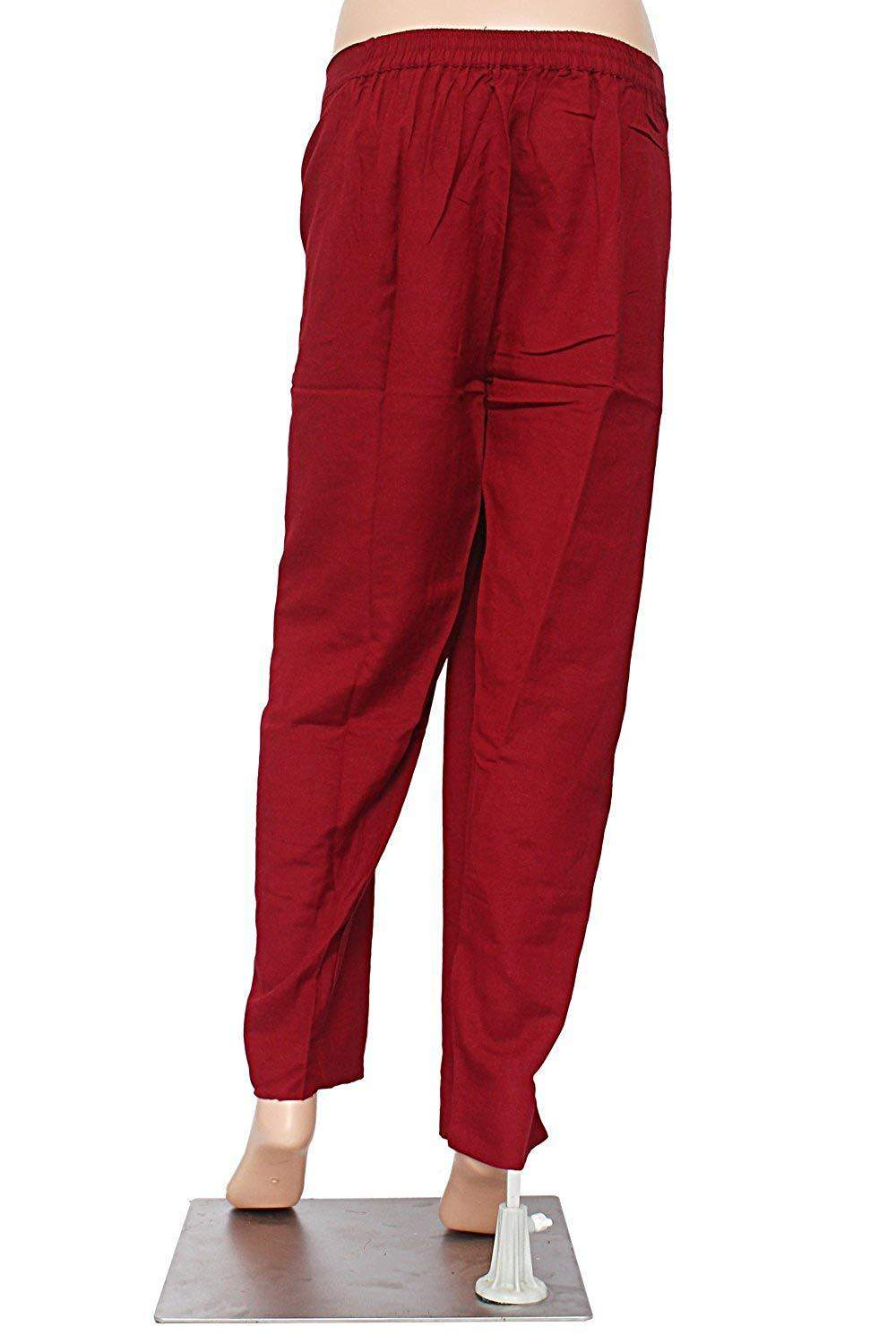 Stylish Cotton Linen Plain Solid Pants Trousers (Maroon) - Bagaholics Gift