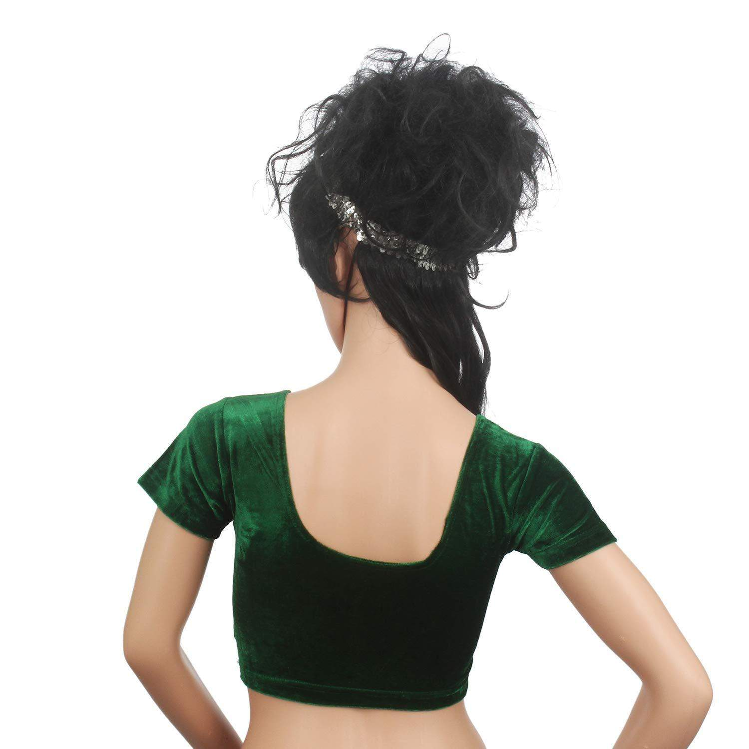 Readymade Velvet Fabric Stretchable Party Wear Blouse  Green - Bagaholics Gift