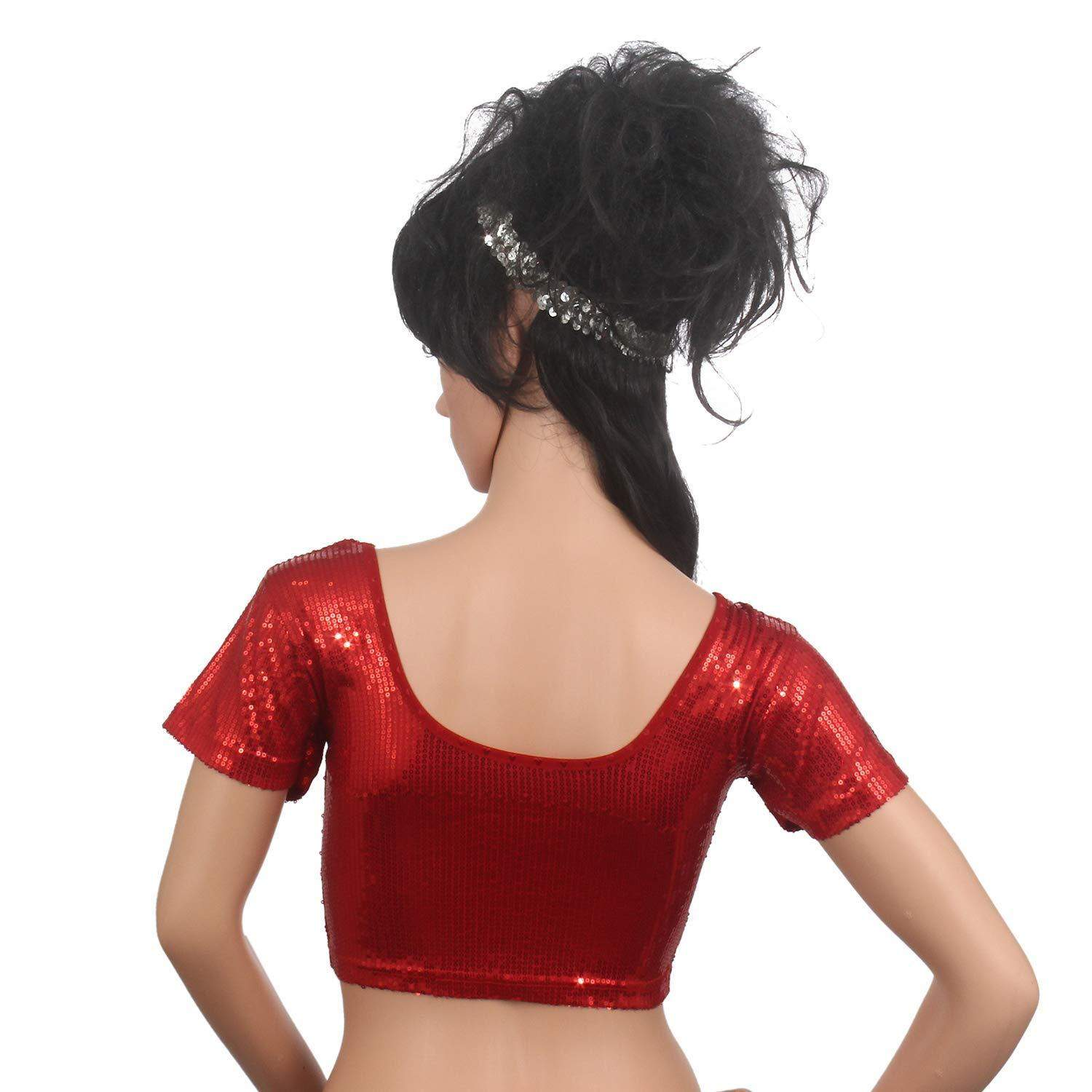 Readymade Sequin Work Party Wear Saree Blouse Red - Bagaholics Gift