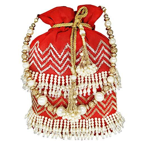 Beads and Pearls Diamond Studded Potli bag Batwa - Bagaholics Gift