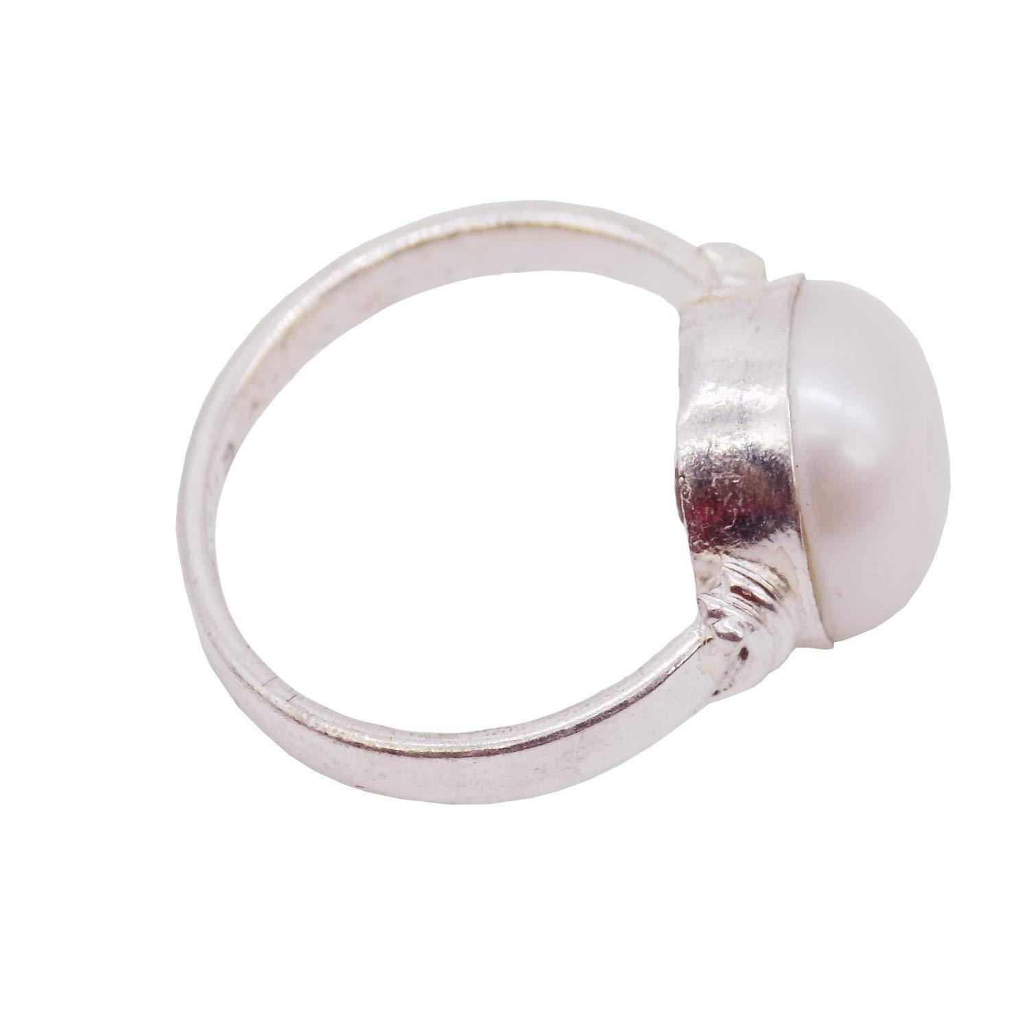Silver Moti Pearl Round Shape Finger Ring - Bagaholics Gift