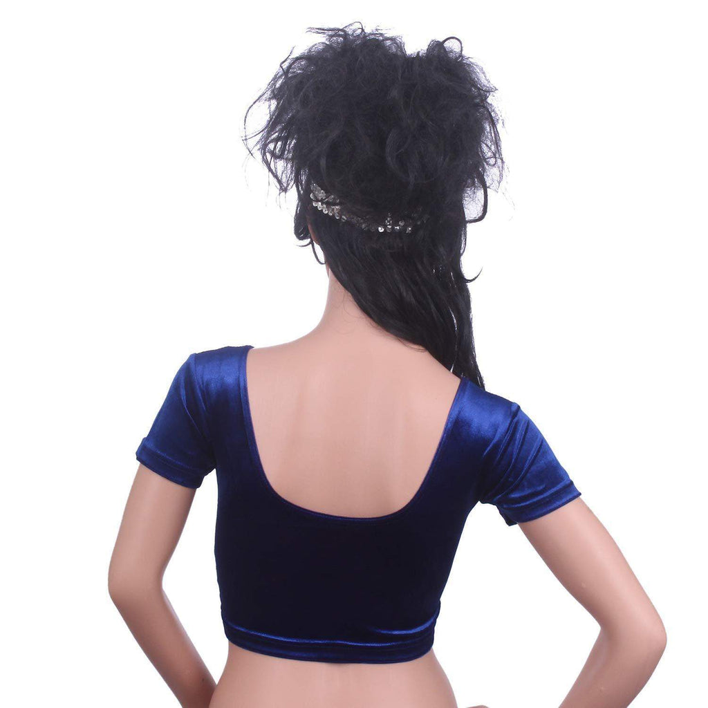 Readymade Velvet Fabric Stretchable Party Wear Blouse  Blue - Bagaholics Gift