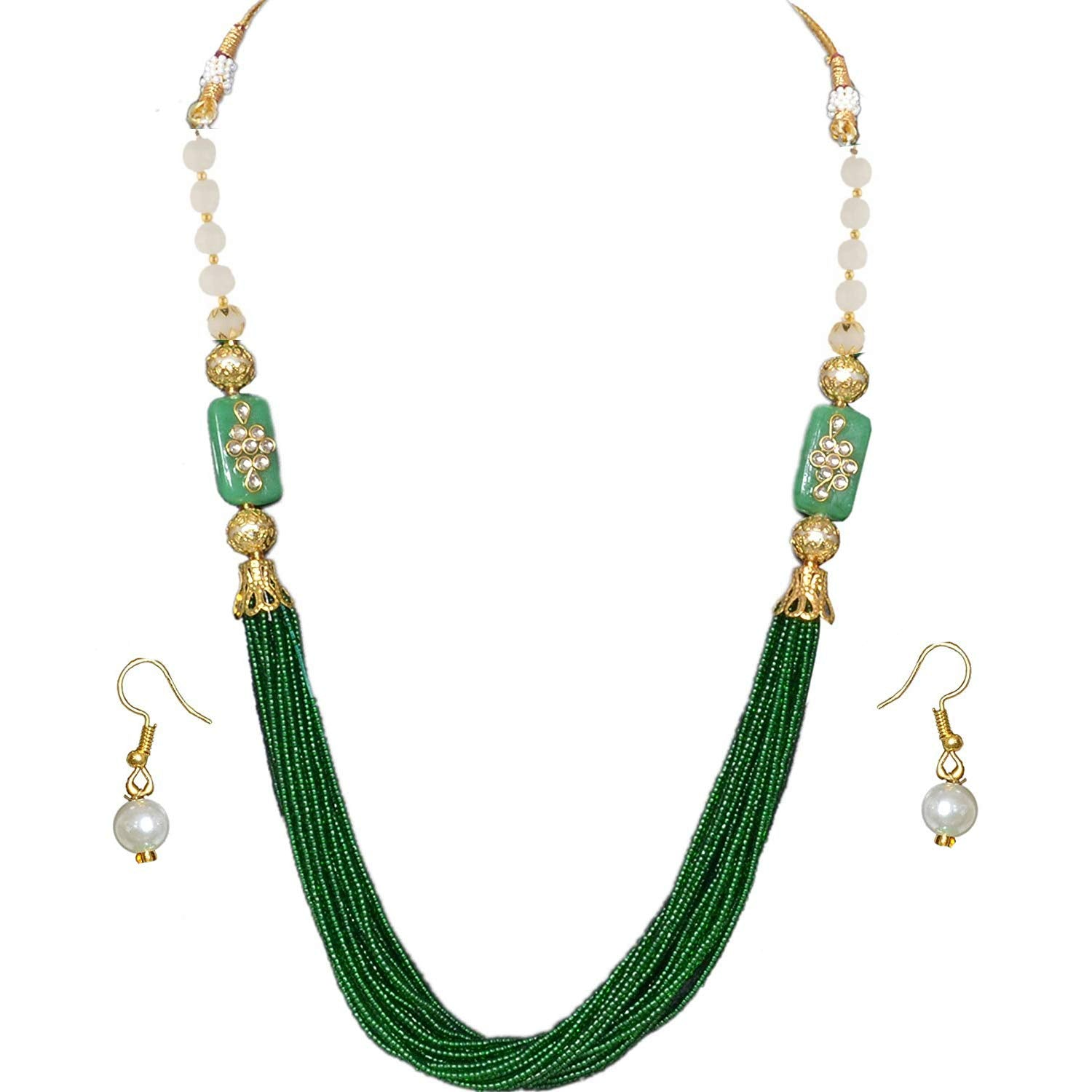 Multilayer Beads Work Traditional Necklace Earrings Set (Green) - Bagaholics Gift