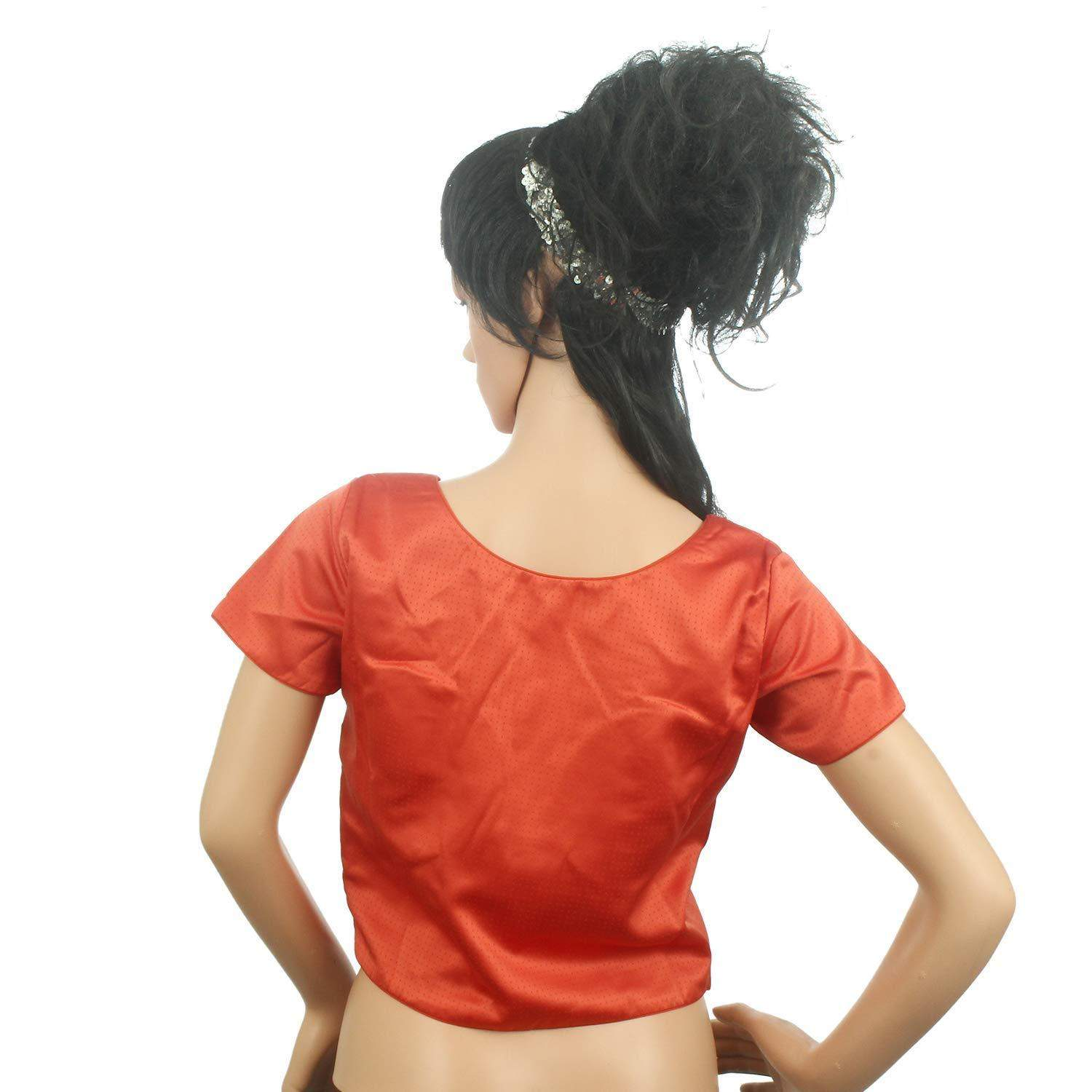 Readymade Designer Pain/Solid Padded Saree Blouse (Red) - Bagaholics Gift