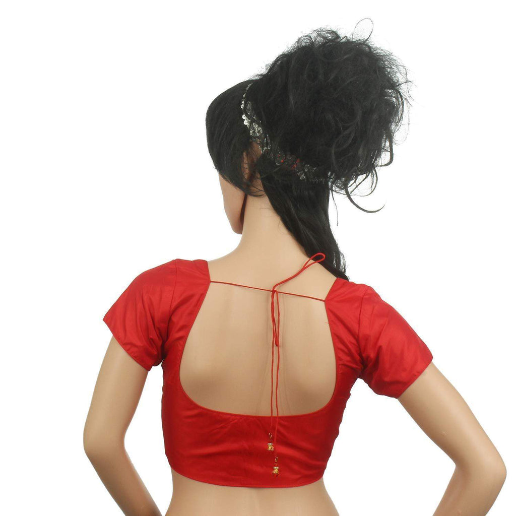 Raw Silk Padded Readymade Designer Saree Blouse (Red) - Bagaholics Gift