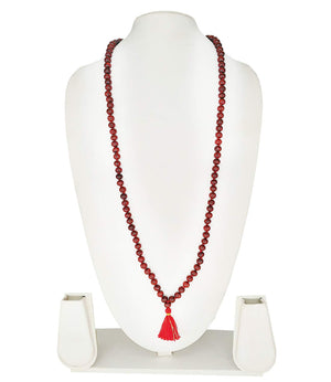 Real & Natural Lal Chandan Rose Wood Mala with 108+1 Beads of 8 mm (Red) - Bagaholics Gift