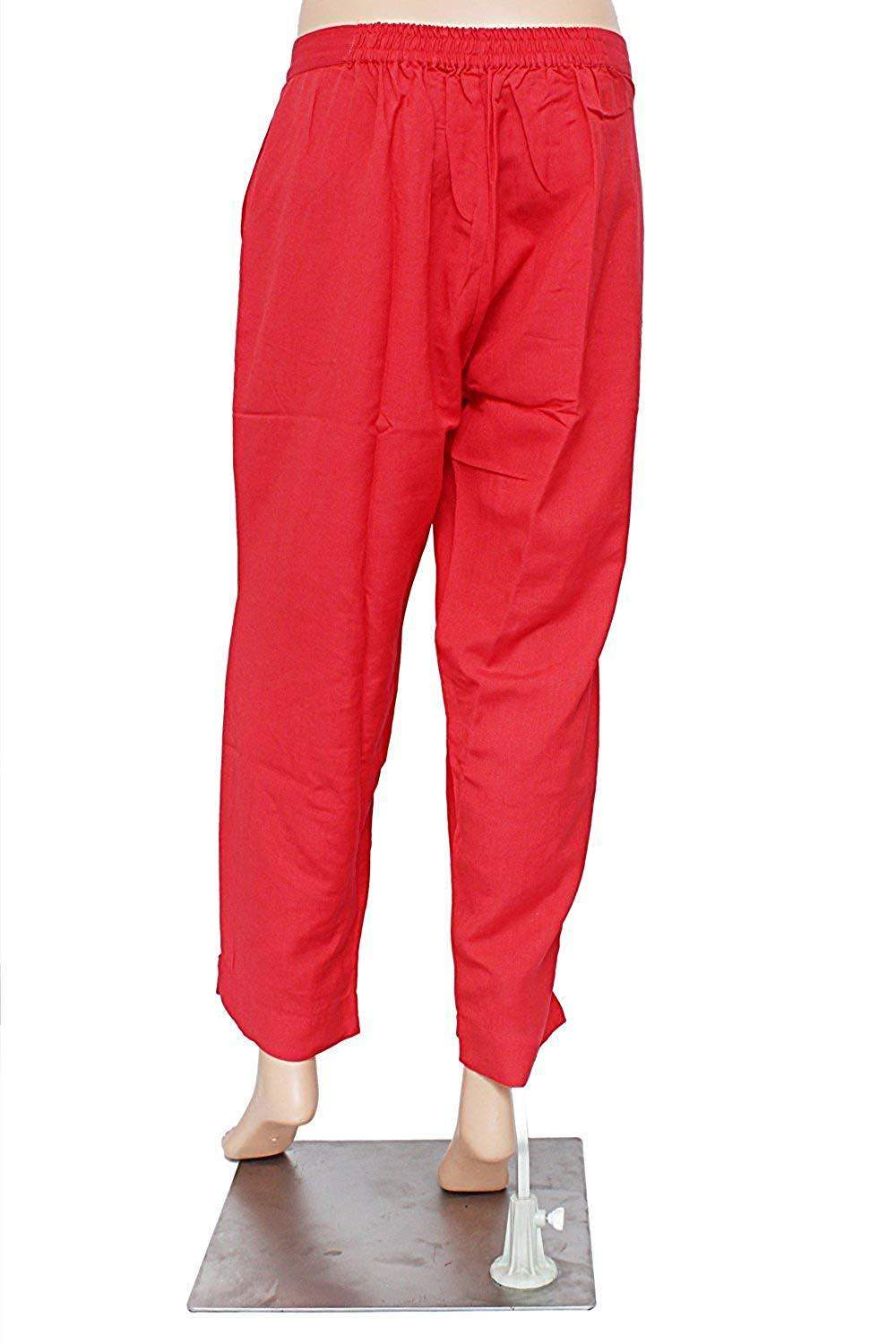 Stylish Rayon Cotton Plain Solid Pants Trousers (Red, X-Large)