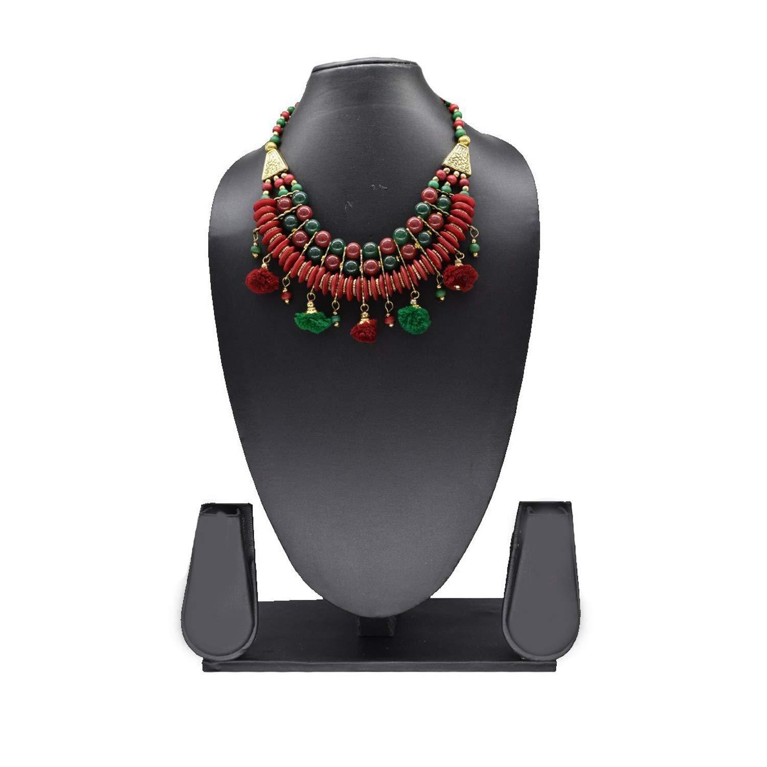 Multi Layer Pom Pom Necklace Choker (Maroon) - Bagaholics Gift