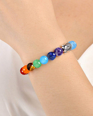 Natural Stones 7 Chakra Yoga Good Luck Beads Strand Bracelets - Bagaholics Gift