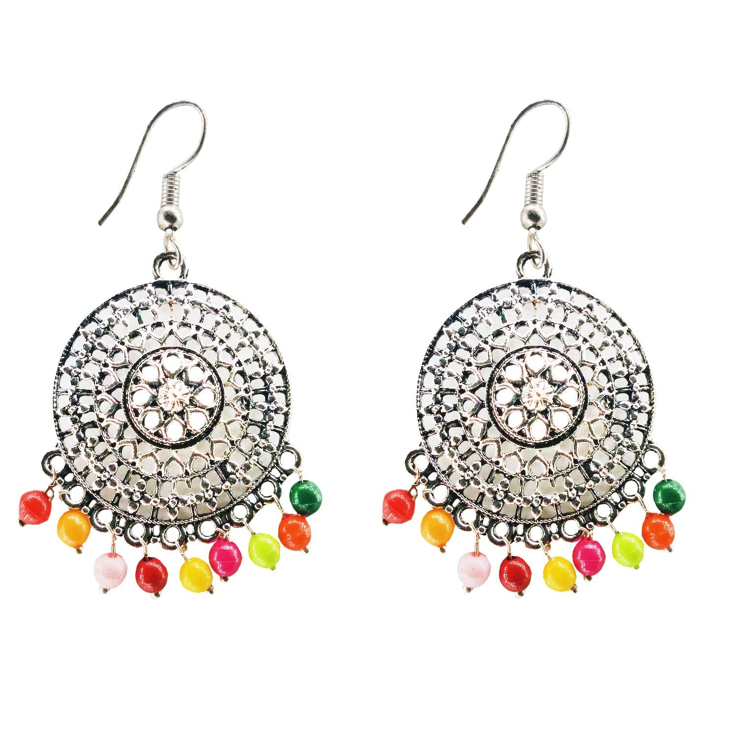 Oxidized Silver Chandbali Earrings for Women and girls (Multi color) - Bagaholics Gift