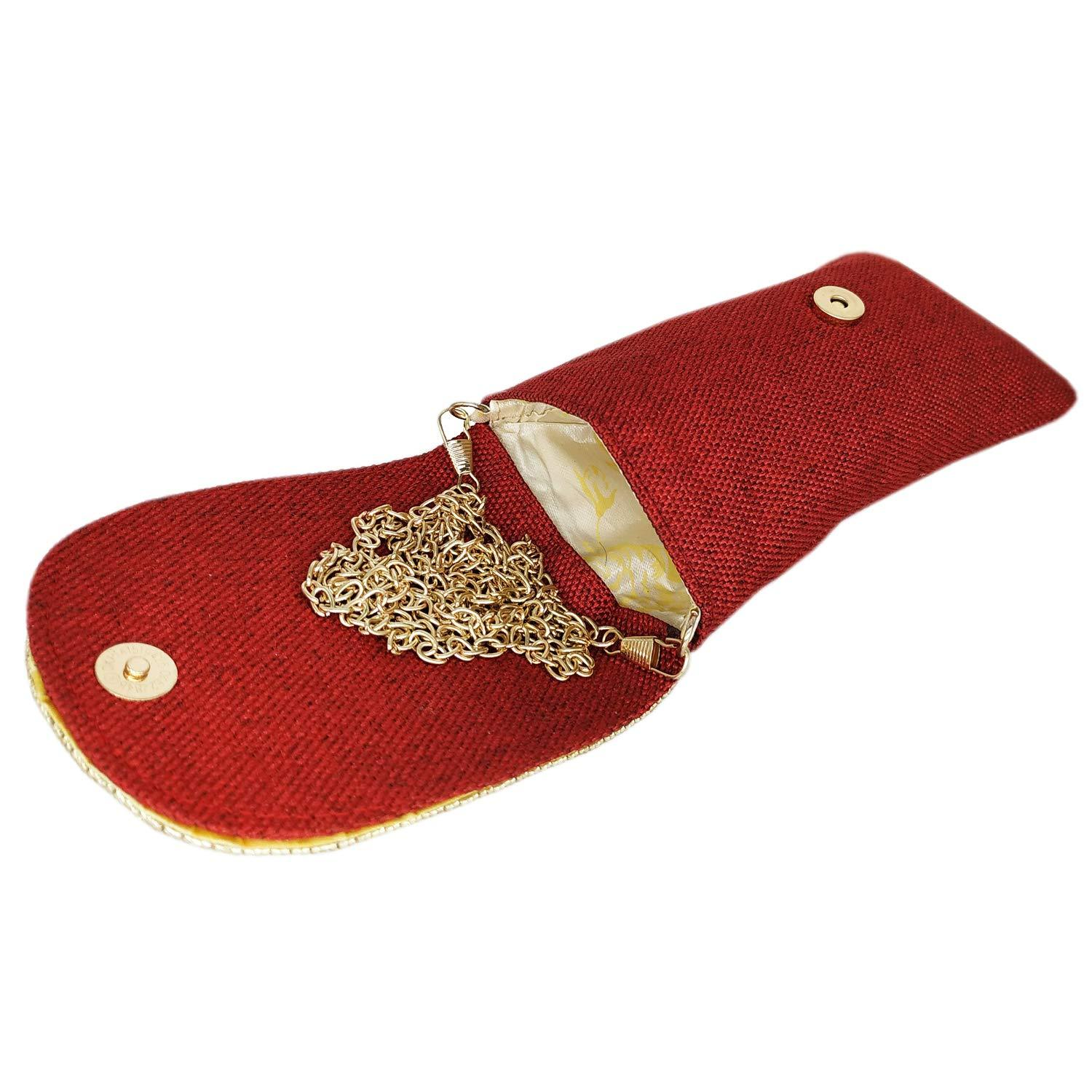 Jute Mobile Pouch with Golden Chain and Waist Clip - Bagaholics Gift