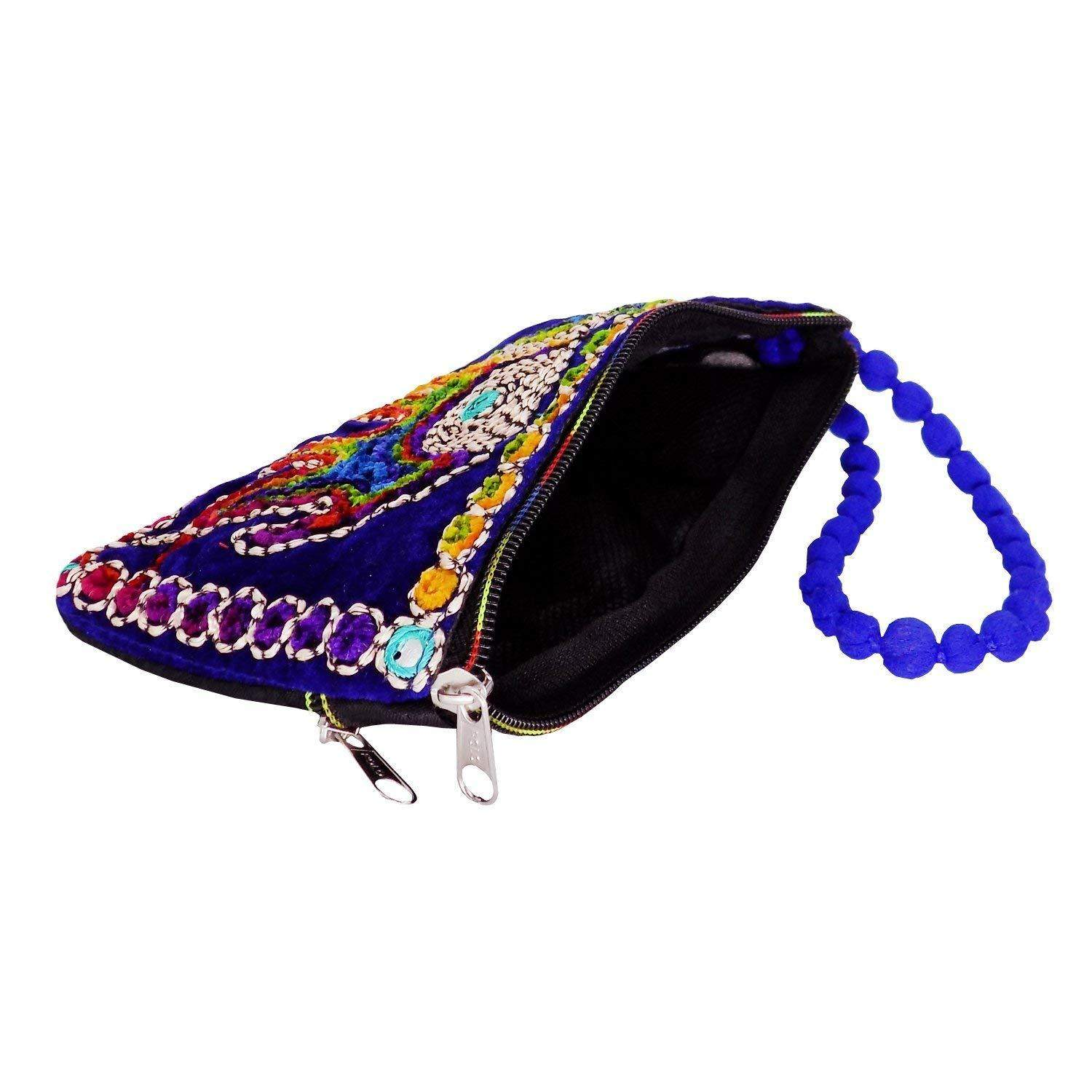 Ethnic Raw Silk Mobile Pouch Waist Clip (Blue) - Bagaholics Gift