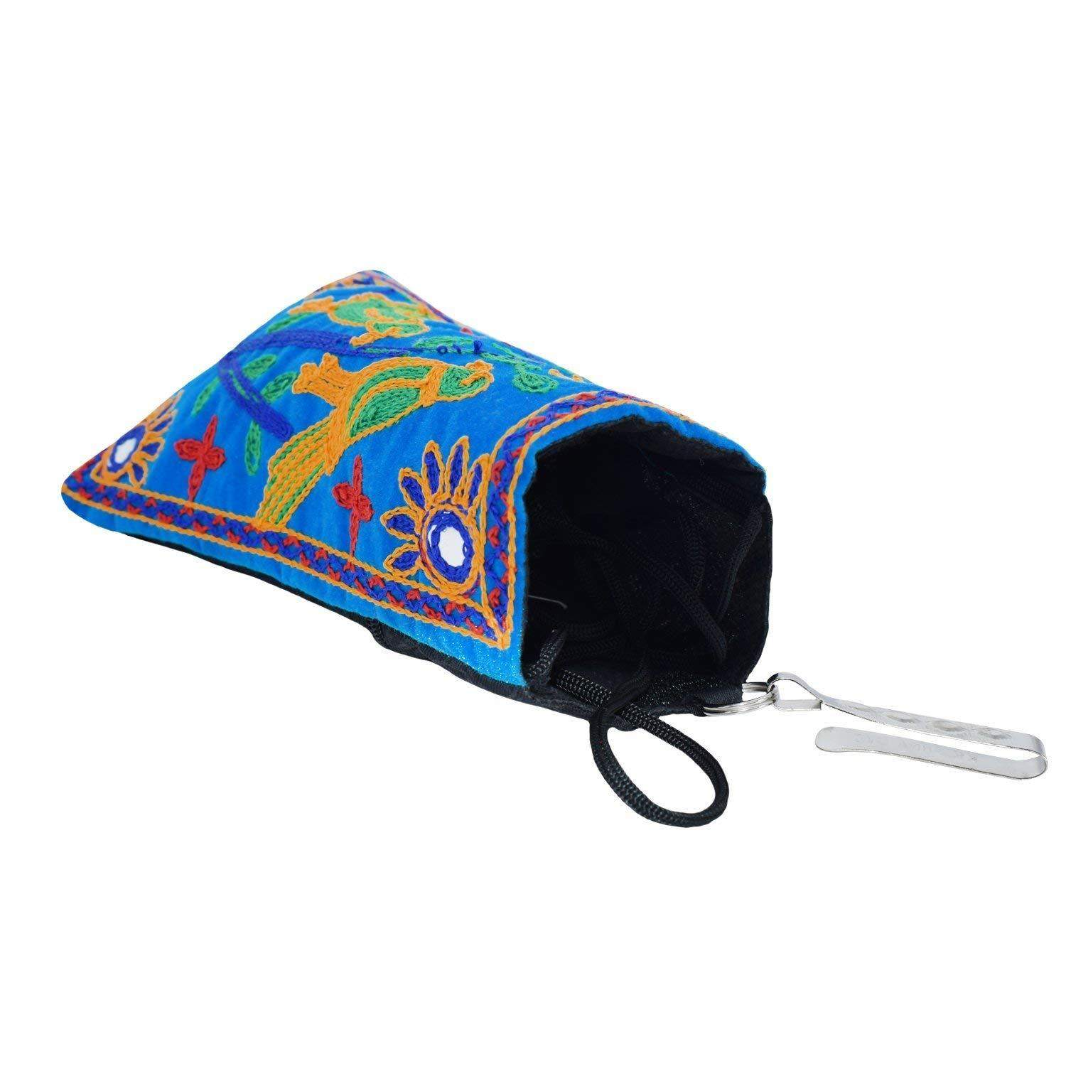 Ethnic Raw Silk Mobile Pouch Waist Clip (Turquoise) - Bagaholics Gift