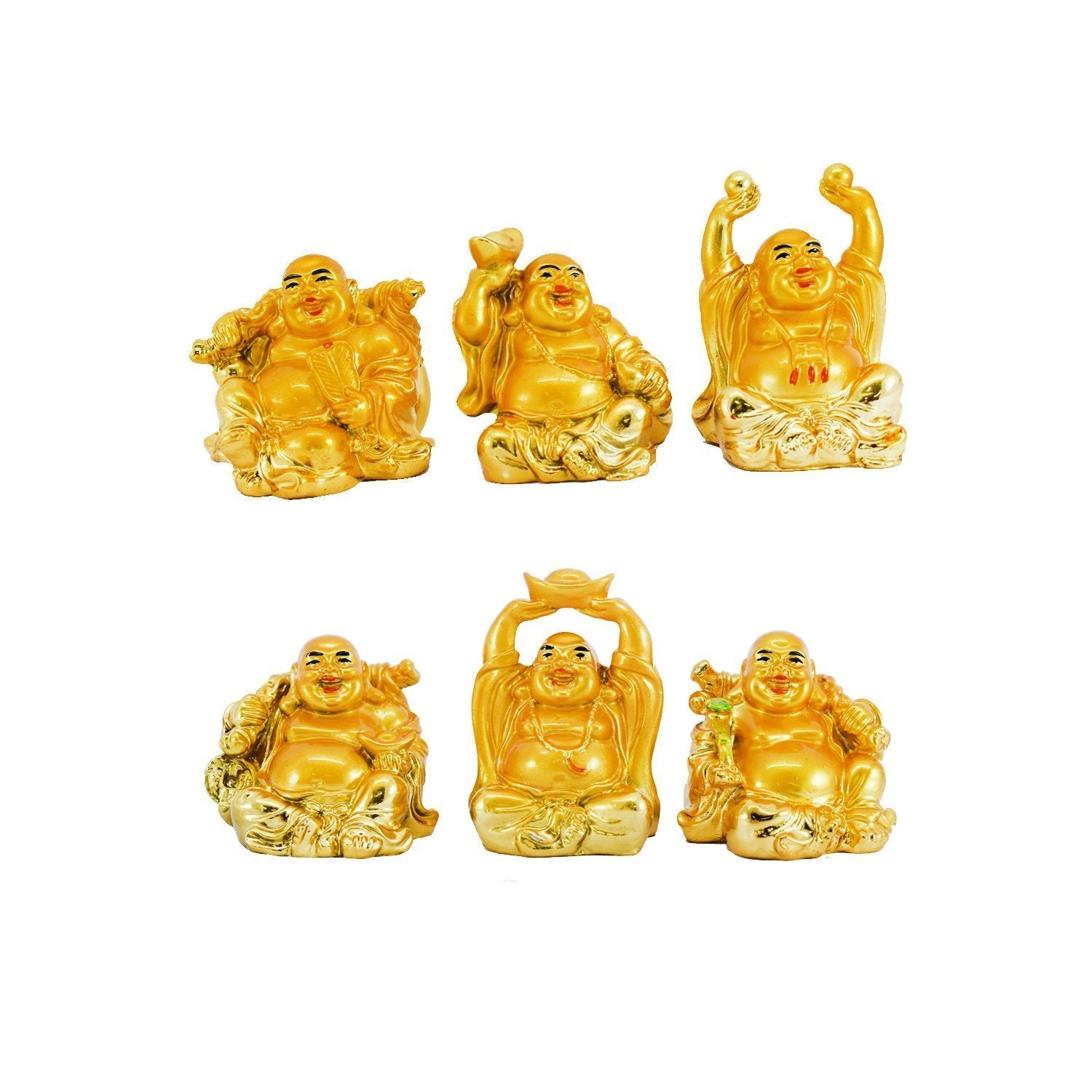 Feng Shui Chinese Happy Laughing Buddha Figurine Golden Statue Gift Showpiece (Set of 6) - Bagaholics Gift