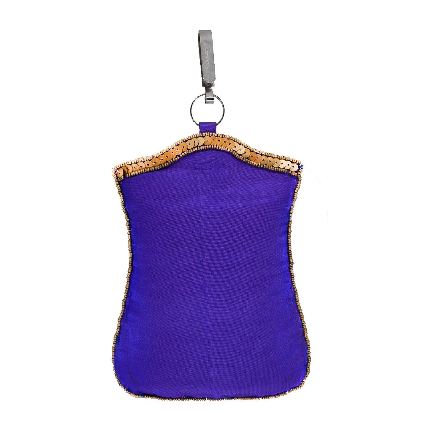 Raw Silk Sequin and Bead work Mobile Pouch Waist Clip - Bagaholics Gift