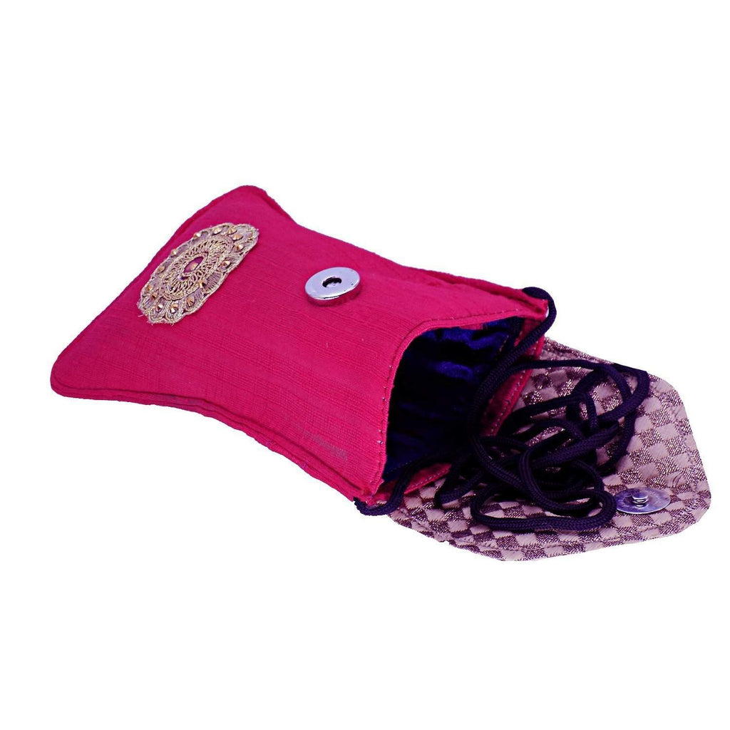 Ethnic Raw Silk Waist Clip Mobile Pouch (Pink) - Bagaholics Gift