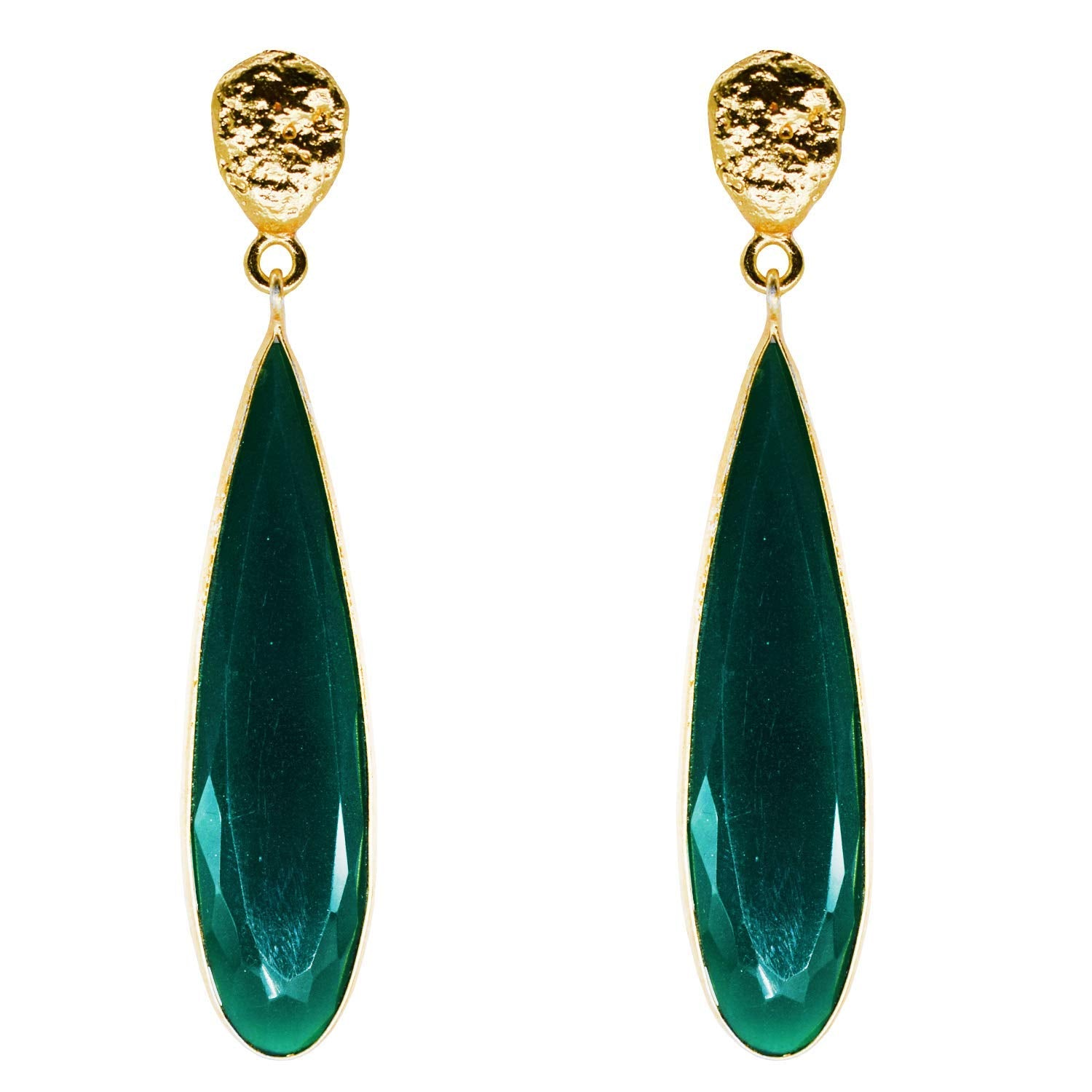 Crystal Dangle Drop Earrings (Green) - Bagaholics Gift