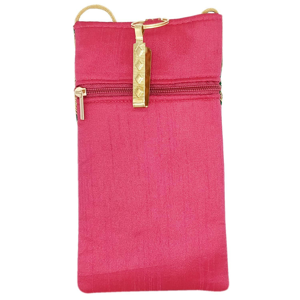 68fc128f684 BagaHolics Ethnic Raw Silk Saree Clutch Mobile Cover Mobile Pouch Waist  Clip Saree Hook Ladies Purse Gift for Women