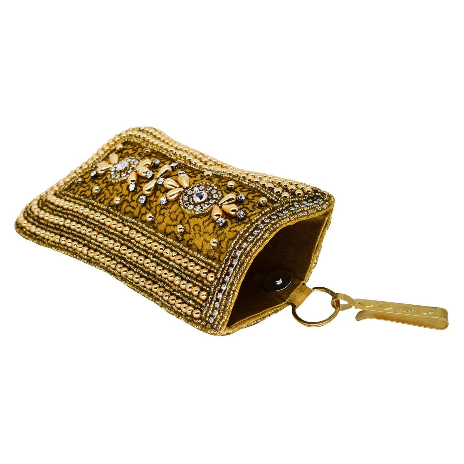 Beads & Pearl Clutch Raw Silk Mobile Pouch Waist Clip - Bagaholics Gift