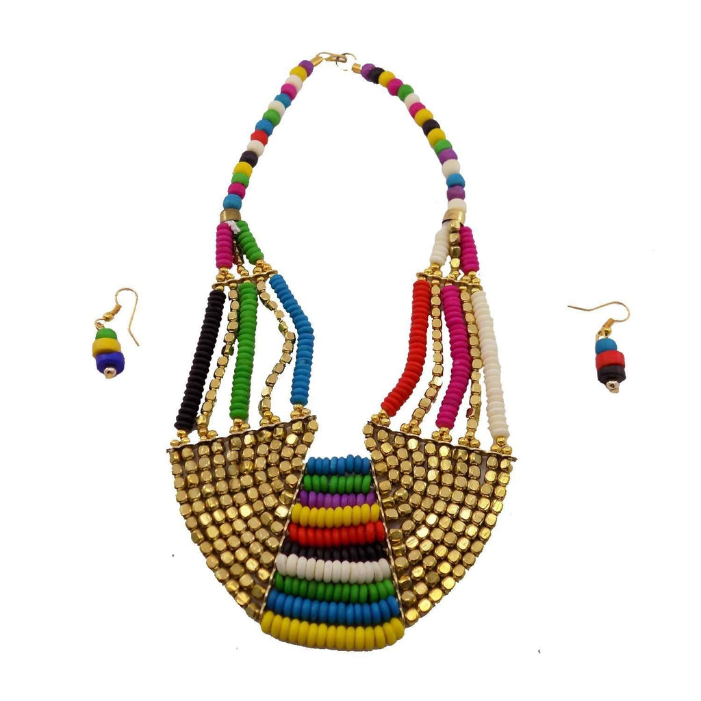 Non-Precious Metal Beads Necklace with earrings (Multicolor)