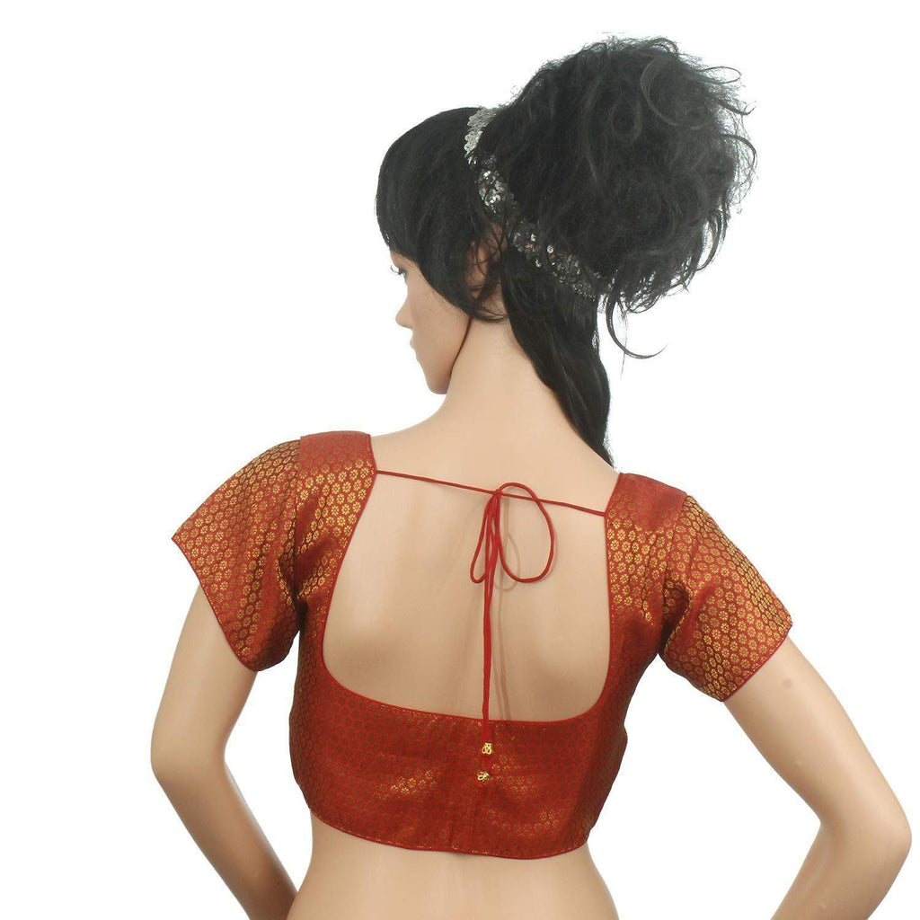 Readymade Raw Silk Brocade Padded Designer Saree Blouse Red - Bagaholics Gift