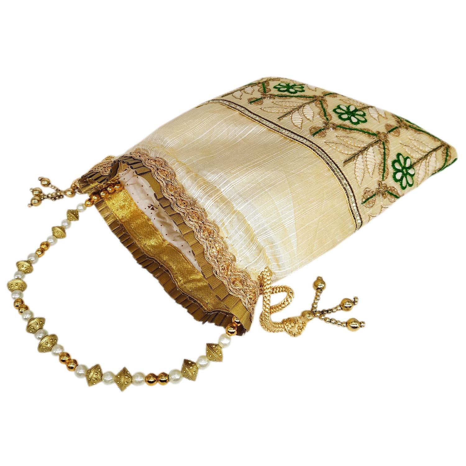 Embroidery and Zari work Silk Batwa Potli - Bagaholics Gift