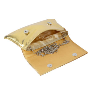 Women's Party Wear Golden Clutch - Bagaholics Gift