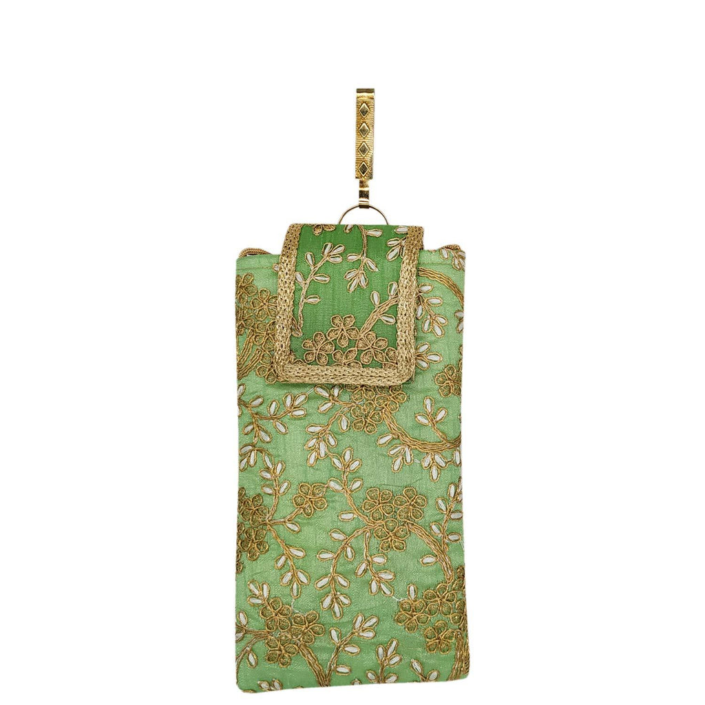40030630cf5 BagaHolics Ethnic Raw Silk Embroidery Work Saree Clutch Mobile Cover Mobile  Pouch Waist Clip Saree Hook Ladies Purse Gift for Women