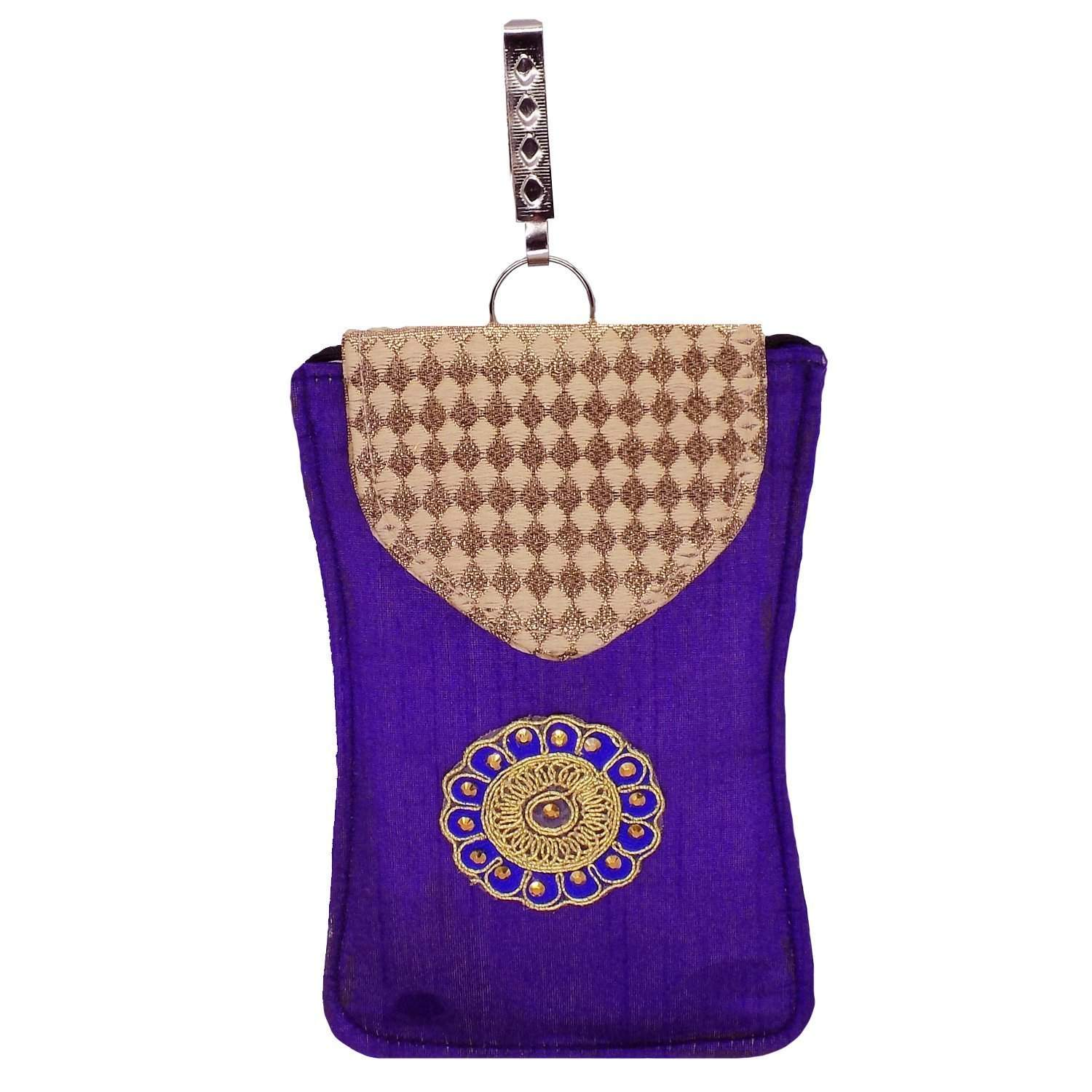Ethnic Raw Silk Waist Clip Mobile Pouch (Purple) - Bagaholics Gift
