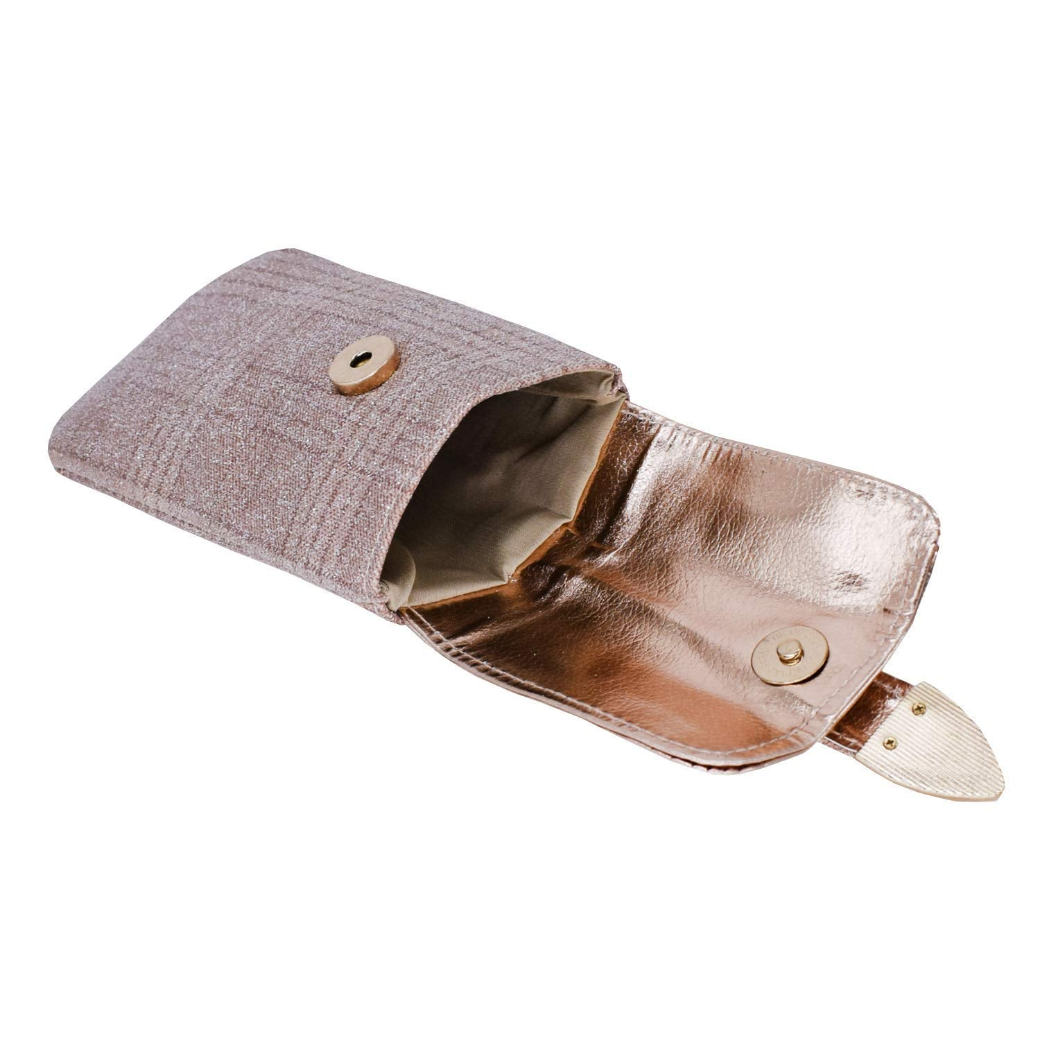 Leather Mobile Pouch with Waist Clip (Light Gold) - Bagaholics Gift