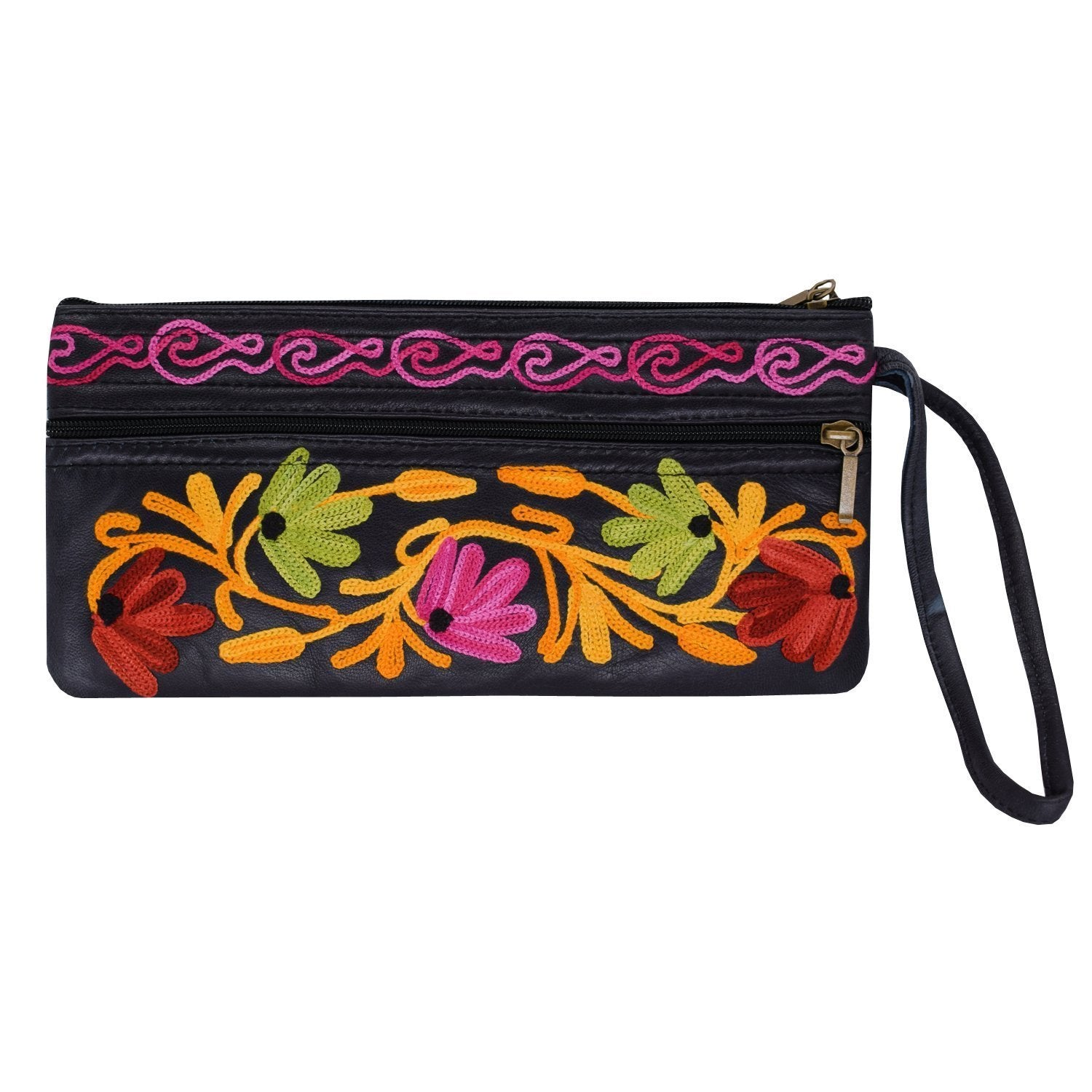 Kashmiri pure Leather Multipurpose Pouch (Black) - Bagaholics Gift