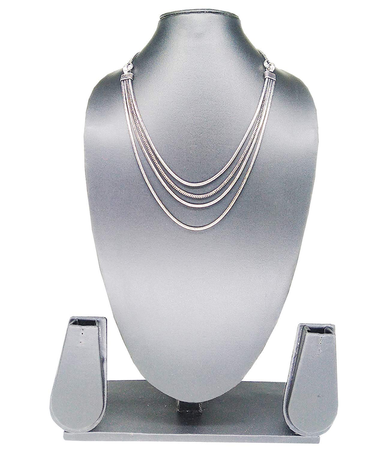 Stunning Silver Plated Multi Layer Chain Necklace (Silver) - Bagaholics Gift