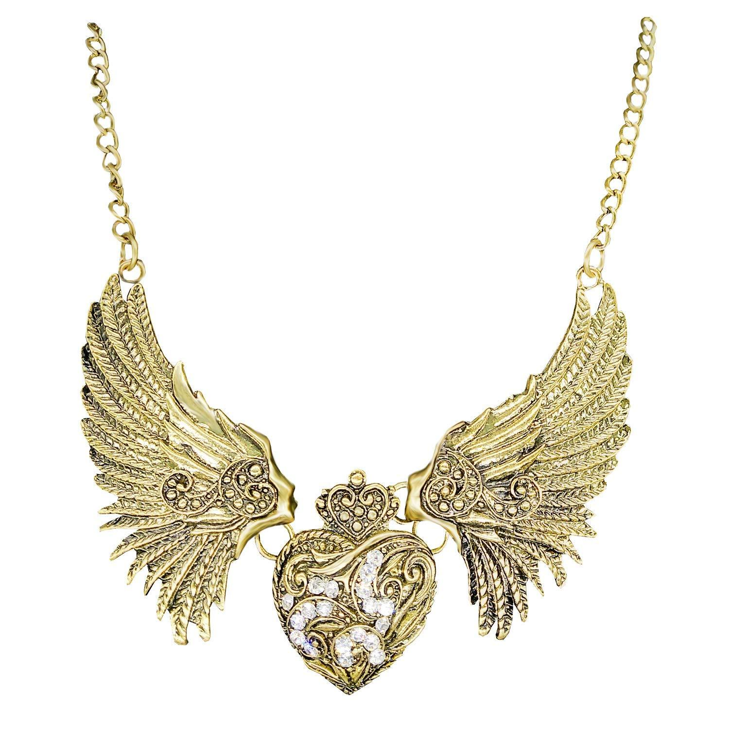 Bird Wings and Heart Shape Pendant Necklace (Gold) - Bagaholics Gift