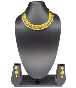 Diamond Pearl Studded Choker Necklace Set with Earrings - Bagaholics Gift