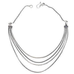 Stunning Silver Plated Multi Layer Chain Necklace (Silver)