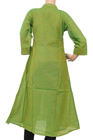 A-Line Round Collar Polo Neck Casual Cotton Kurti for Women's Green - Bagaholics Gift