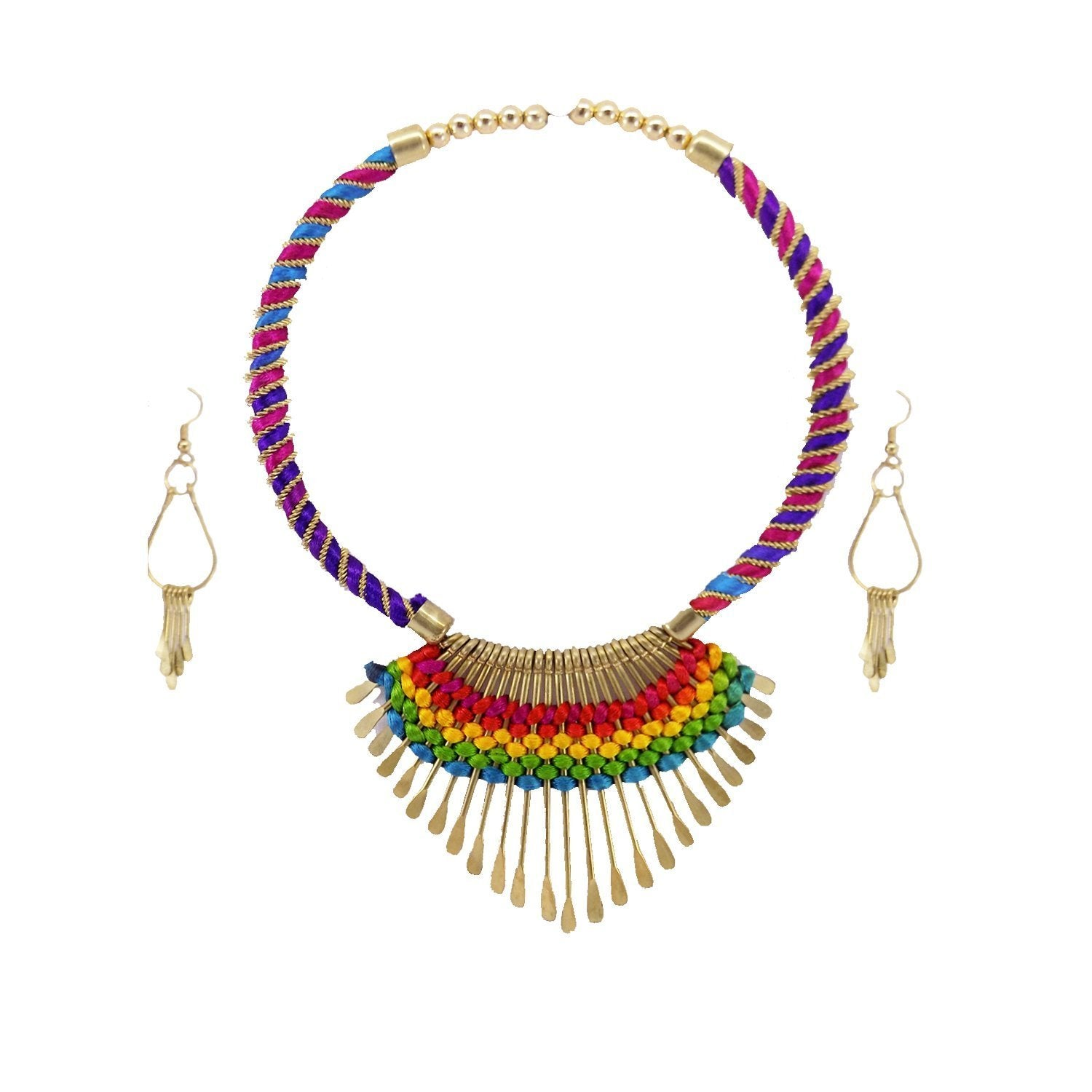 Choker Necklace with earrings For Women (Multicolor) - Bagaholics Gift