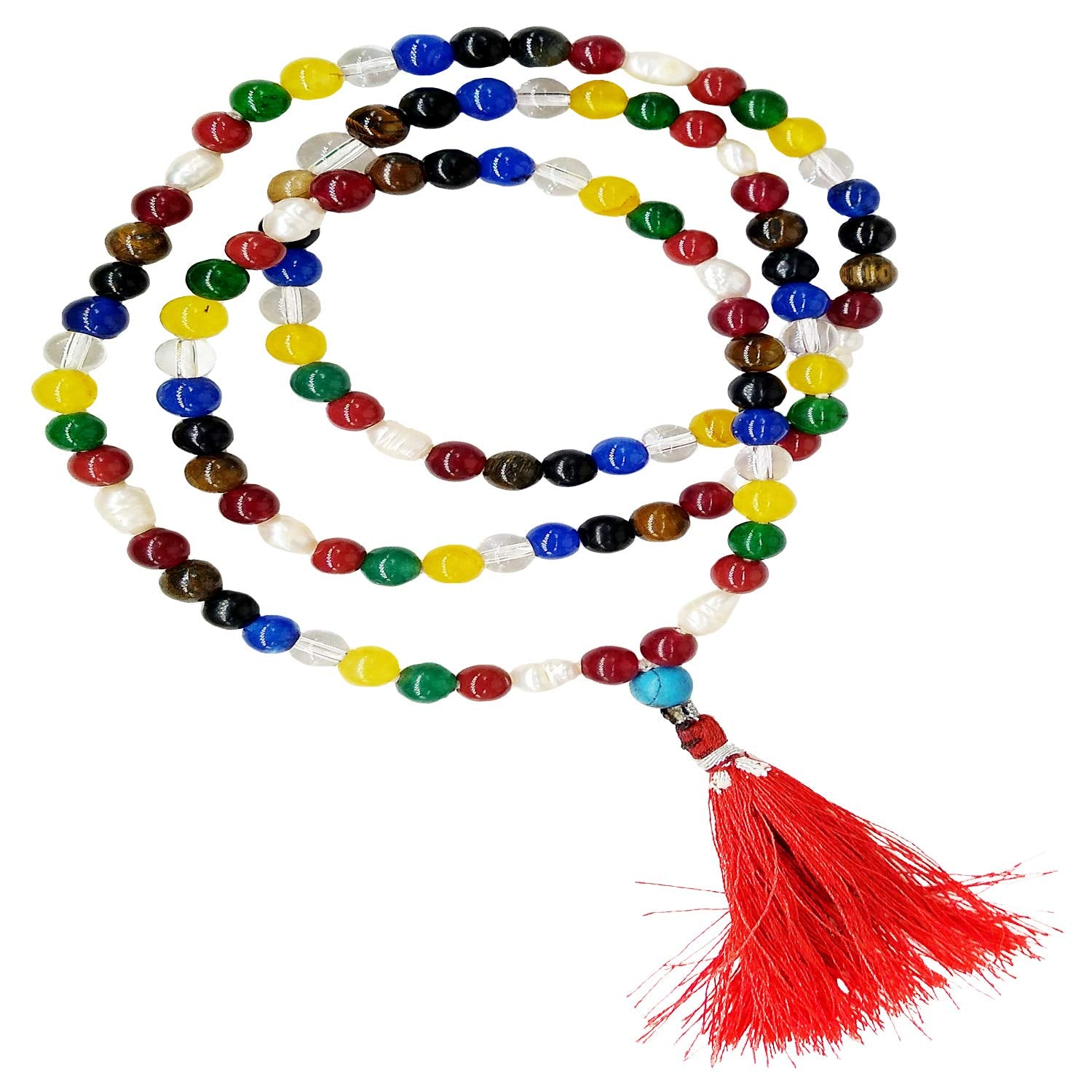 Natural Navratna Stones Jaap Mala with 108+1 Beads of 6 mm (Multicolor) - Bagaholics Gift