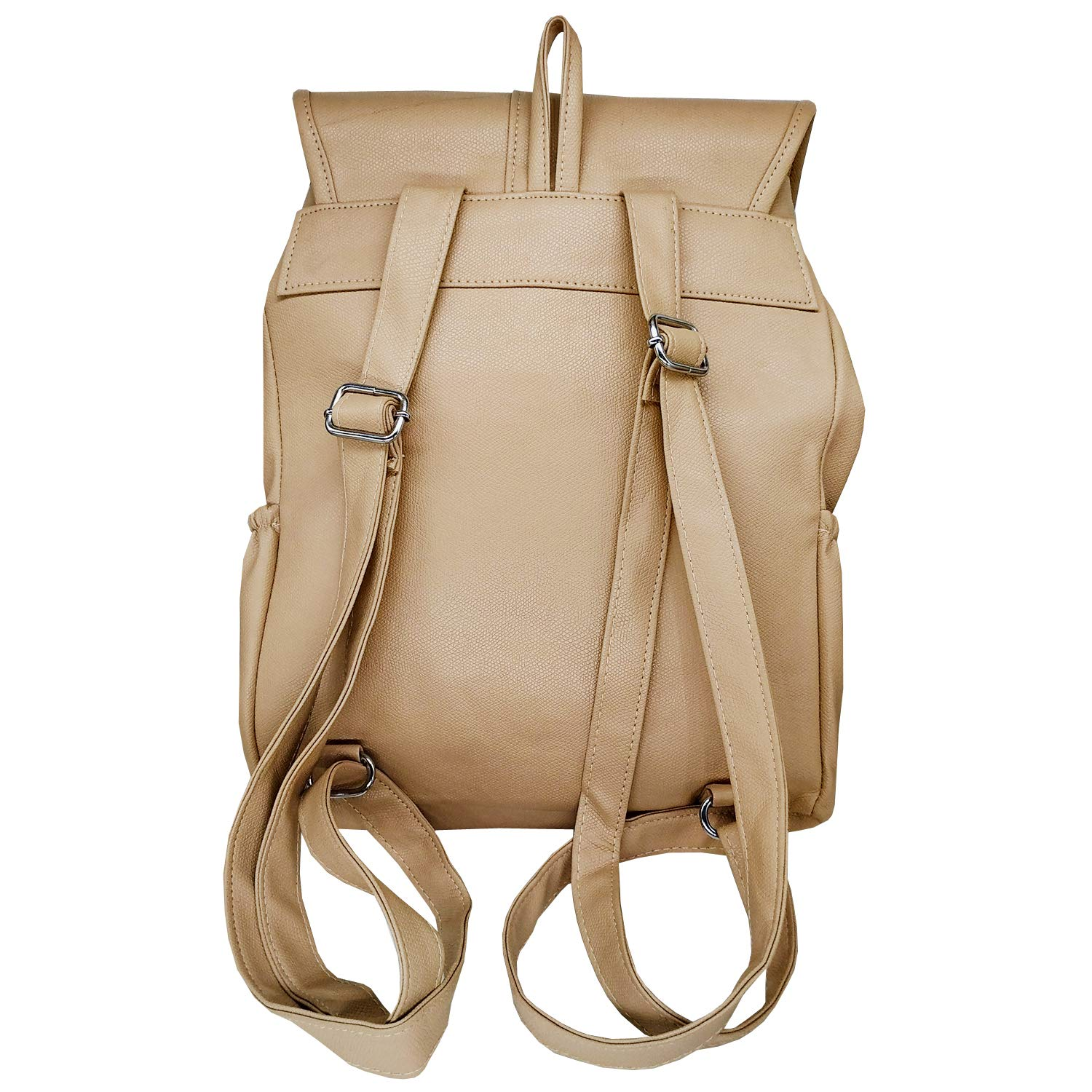Artificial Leather Student Backpack For Girls (Off-White) - Bagaholics Gift