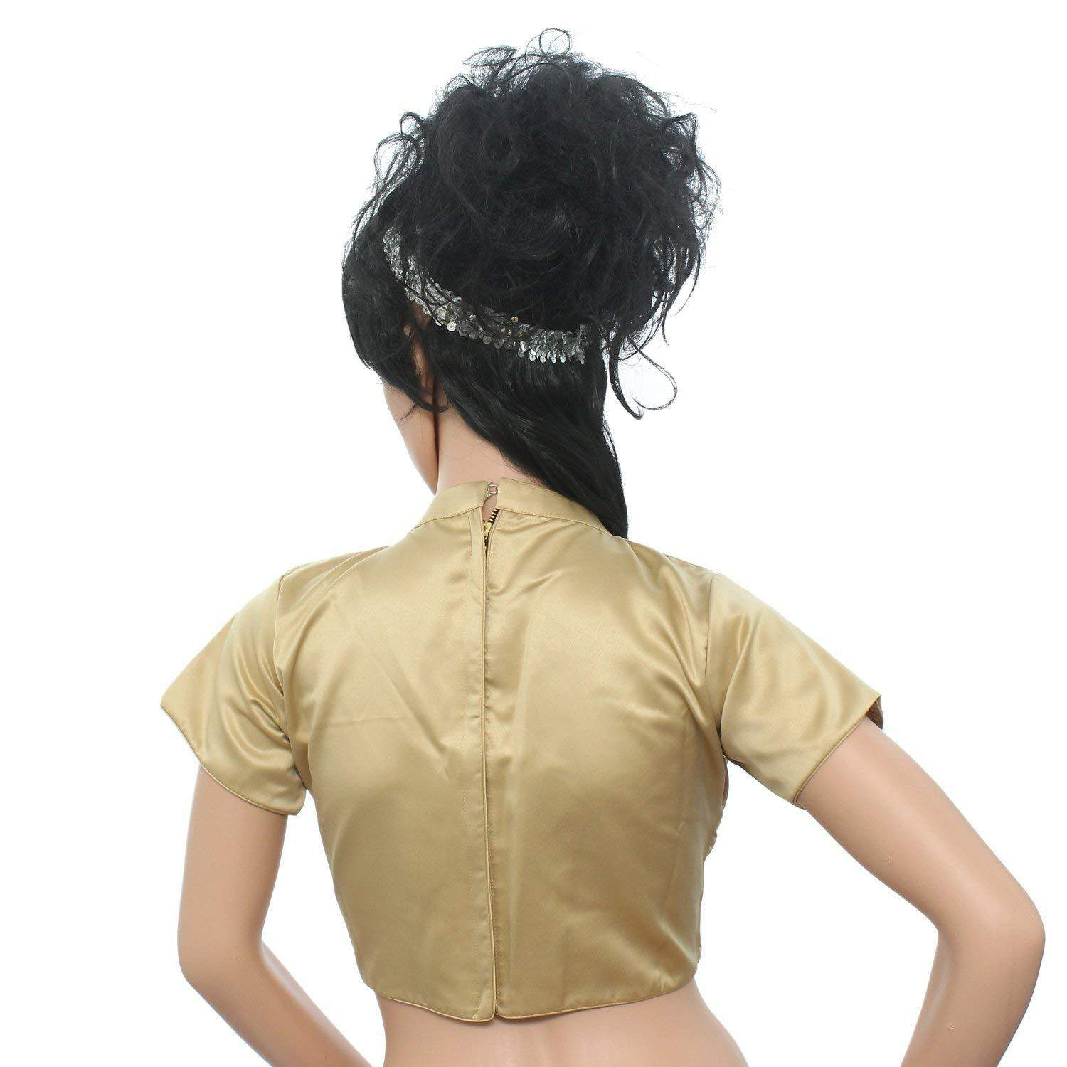 Readymade Designer Satin Pain/Solid Padded Saree Blouse (Beige) - Bagaholics Gift