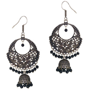 Antique Oxidised Silver Chandbali Earrings with Jhumki - Bagaholics Gift
