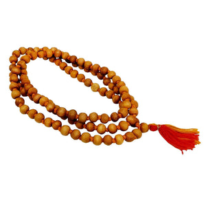 Real & Natural Sandal Wood Pure Kanthi Mala with 108+1 Beads of 8 mm - Bagaholics Gift