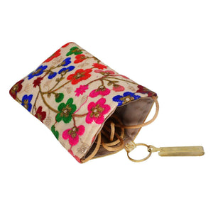 Ethnic Raw Silk Embroidery Mobile Pouch Waist Clip (Gold) - Bagaholics Gift