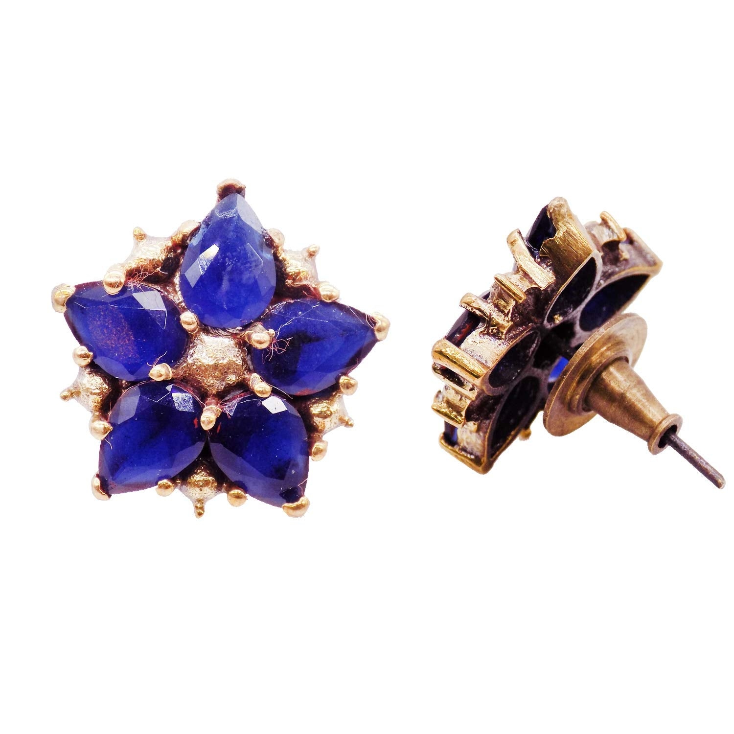 Floral Stud Earrings (Blue) - Bagaholics Gift