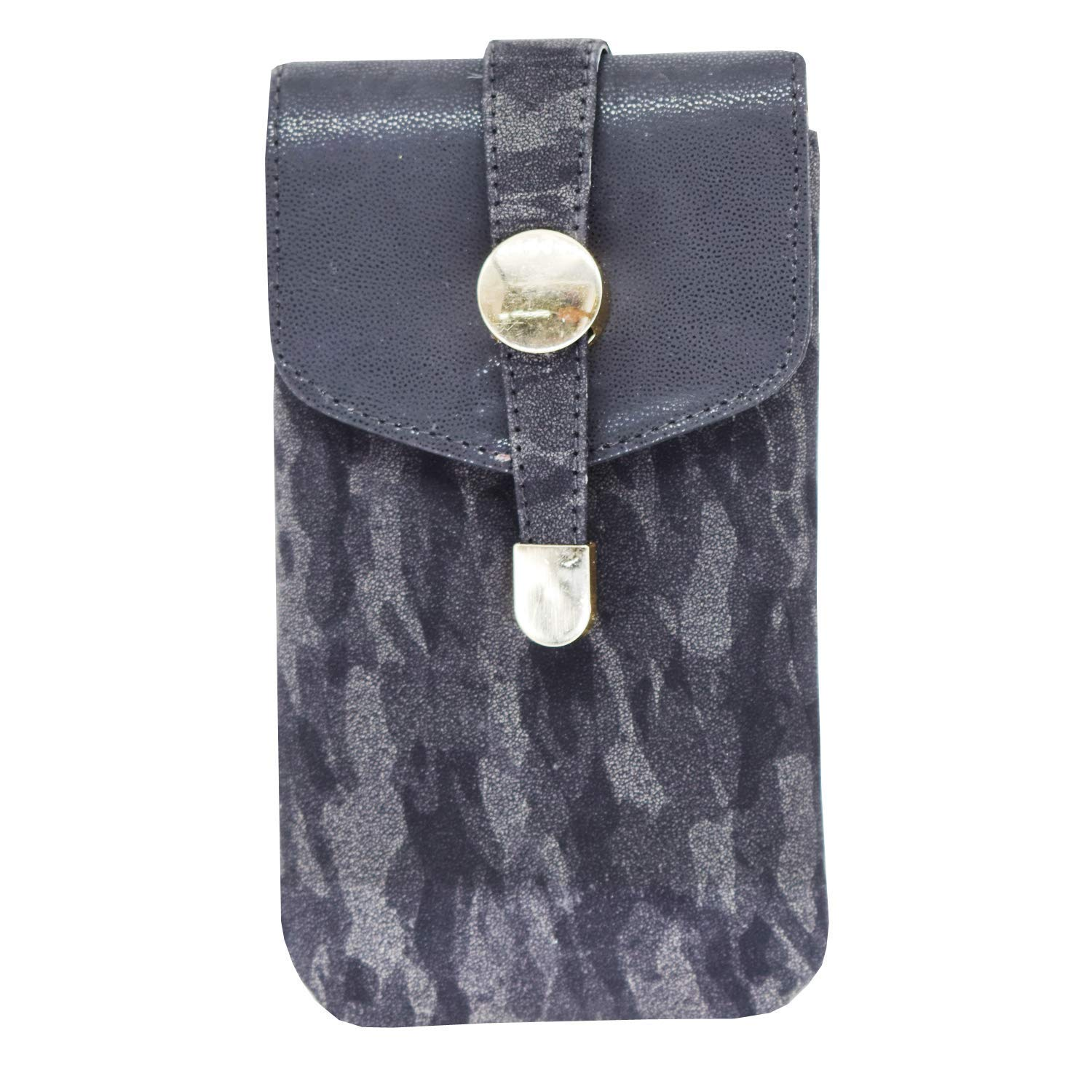 Leather Mobile Pouch with Waist Clip (Black) - Bagaholics Gift