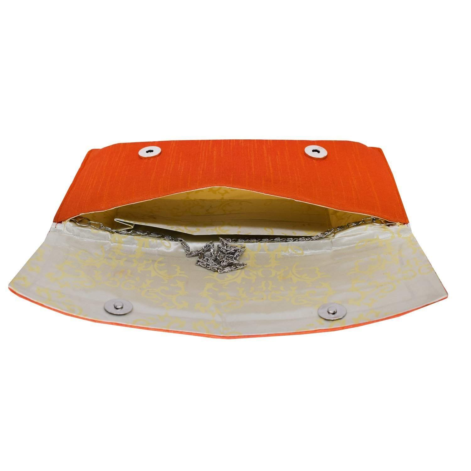 Ethnic Silk Embroidery Work Clutch (Orange) - Bagaholics Gift