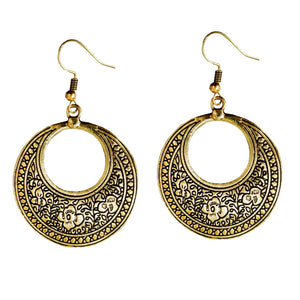 Antique Oxidized Gold Silver Chandbali Earrings - Bagaholics Gift