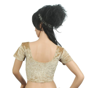 Readymade Velvet Fabric Stretchable Party Wear Blouse Gold - Bagaholics Gift