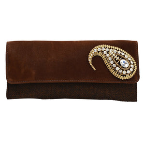 Brooch Clutch Ladies Purse (Brown) - Bagaholics Gift